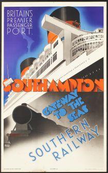 'Southampton Gateway to the Seas, Southern Railway'. Artist, Walter Thomas, 1939.
