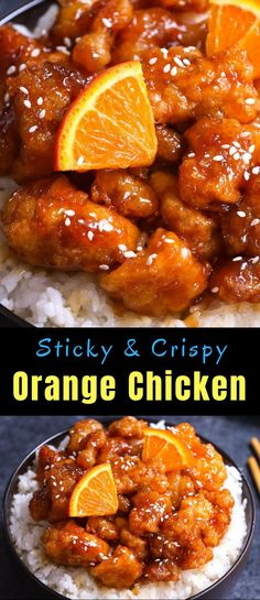 Spicy & Crispy Orange Chicken has crispy chunks of tender chicken covered in a tangy orange sauce. It makes a delicious weeknight dinner that's budget friendly and kid approved. So skip the takeout from Panda Express and try this orange chicken recipe! Chinese Orange Chicken, Chinese Chicken Recipes, Easy Chinese Recipes, Asian Recipes, Healthy Recipes, Ethnic Recipes, Easy Orange Chicken, Orange Chicken Sauce, Panda Express Orange Chicken