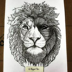 Lion Zentangle by kylepatrick1986.deviantart.com on @DeviantArt