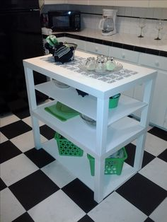 Ikea Hack - Ikea Lack Coffee tables turned cute little kitchen island by a DIY beginner.