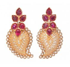 Gold plated sterling silver filigree earrings with semi precious stones - Pearls ,Pink Cubic Zirconia-1pc along with colour combination of Pink and White.