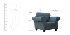 Anapolis Single Seater Sofa in Aegean Blue Colour by CasaCraft by CasaCraft Online - Fabric - Furniture - Pepperfry Product