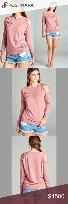 Dusty Pink Cold Shoulder Distressed Sweatshirt Coming ❣️Dusty Pink Cold Shoulder Distressed Sweatshirt Also available in Grey French Terry Cotton  70% Cotton, 30% Polyester  No Trades Price Firm Unless Bundled GlamVault Tops Tees - Long Sleeve