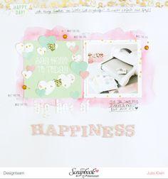 mimizuku - pieces for happiness: Wenn eine Glücksbox eintrifft... Scrapbooking Layout mit dem Maikit der Scrapbook Werkstatt