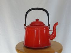 Vintage Red Enamelware Teapot by MrsPottsCharmedHome on Etsy