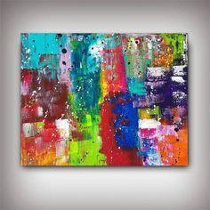 Tableau abstrait peinture multicolore très flashy / ultra coloré