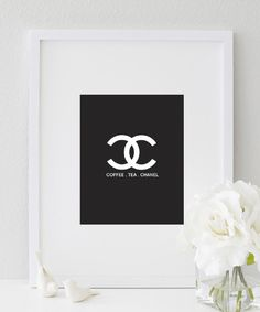 Coco Chanel Logo (Black and White Kitchen Print)  #print https://bymaria.com/