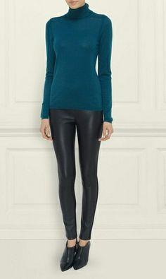 LK-Bennett-Meleze Merino Wool Turtle Neck Top-Bianca-boots-Ginger-Legging