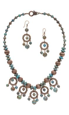 "earthtones necklace Single-Strand Necklace and Earring Set with Blue Sky Jasper Gemstone Beads, Antiqued Copper-Plated Copper Beads and Antiqued Copper-Finished ""Pewter"" Components - Fire Mountain Gems and Beads"