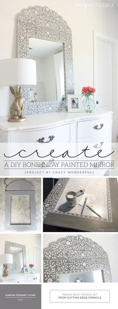 Cutting Edge Stencils shares how to create a DIY bone inlay mirror using the Indian Inlay Stencil Kit. http://www.cuttingedgestencils.com/indian-inlay-stencil-furniture.html