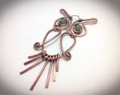 Copper wire wrapped Owl embellished with czech beads by JCLwire