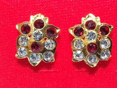 Indian Bollywood style Gold plated vintage CZ stud party ware earrings ALMO5 #lakimanu #Stud Bollywood Style, Indian Bollywood, Bollywood Fashion, Vintage Floral, Diamond Earrings, Plating, Brooch, Stone, Party