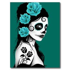 This Day of the Dead inspired design features a beautiful woman with sugar skull patterns on her face. Three roses appear in her jet black hair with two more roses tattooed on her arm. The girl is standing sideways with her head turned slightly towards the viewer. Her pure white skin really stands out against the black hair and dress as well as the teal blue background. This unique design is a stunning representation of this Day of the Dead woman.