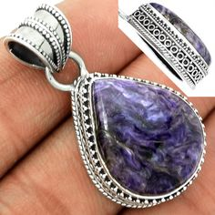 Charoite 925 Sterling Silver Pendant Jewelry CROP733 - JJDesignerJewelry