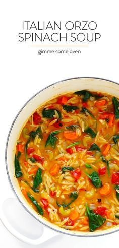 This Italian Orzo Spinach Soup recipe is easy to make in 30 minutes, and it's SO delicious and comforting!   gimmesomeoven.com