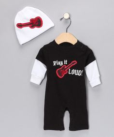 Take a look at this Black 'Play It Loud' Layered Romper & White Beanie by Baby Glam on #zulily today!