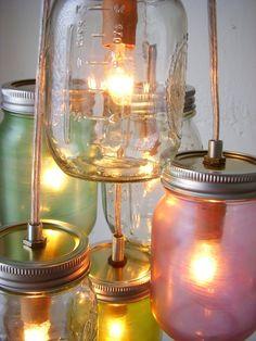 Pretty Pastels Mason Jar Chandelier  Mason Jar Light  by BootsNGus, $130.00