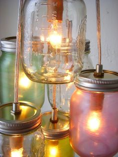 Pretty Pastels Mason Jar Chandelier  Mason Jar Light  by BootsNGus, $130.00
