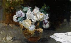Sorolla - Bodegon de Rosas Blancas