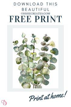 Beautiful free print - Oh She Creates - Botanical Eucalyptus wall art. FREE printable wall art, suitable for a gift, or home makeover - Metal Tree Wall Art, Diy Wall Art, Wall Art Decor, Bathroom Wall Decor, Cactus Wall Art, Cactus Print, Floral Wall Art, Free Prints, Wall Art Prints