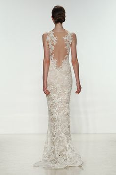 Such a beautiful all lace wedding dress with illusion back detail. Amsale, Spring 2015