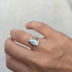 Image result for bezel set emerald cut diamond ring