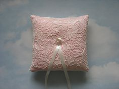 Ring bearer pillow. Pink ring cushion for by WonderlandFound