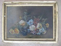 EXQUISITE Old 1880 OIL Floral PAINTING of PANSIES FLOWERS FRAMED  #Art #Sale