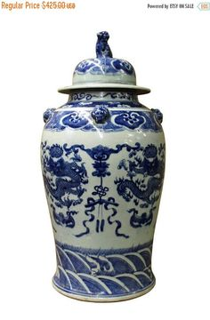 30%OFF SALE Chinese Blue & White Dragons Graphic Porcelain