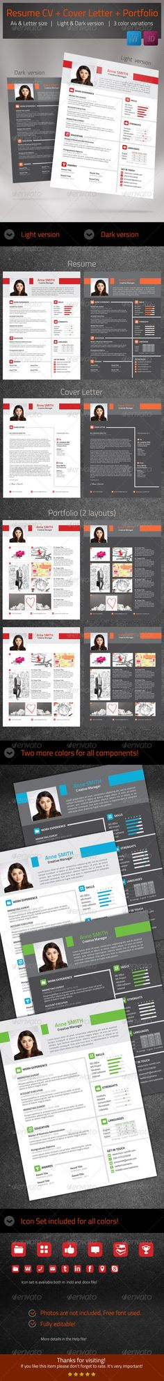 Modern Resume Template Words, Colors and Page sizes - e resume