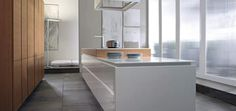 Find inspiration in the Corian Solid Surface photo gallery. From Seamless benchtops to facade cladding to thermoformed counters to backlit and engraved. Corian Worktops, Corian Sink, Quartz Kitchen Countertops, Granite Sinks, Corian Dupont, Corian Colors, Kitchen Center Island, Corian Solid Surface, Ventilation Hood
