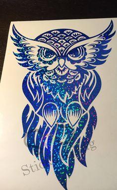 Owl Tribal Glitter Holographic Vinyl Decal Sticker Car Window Owl - Owl custom vinyl decals for car