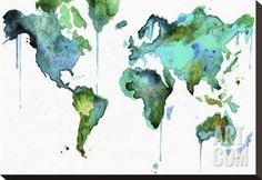 Watercolor Map No. 6 Stretched Canvas Print by Jessica Durrant at Art.com
