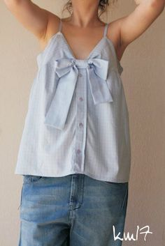 shirt made from a mans shirt! Photo inspiration; DIY version: lay a tank top over the shirt, tracing top; fold under edges add ribbon for straps; cut long strips from sleeves use for bow!