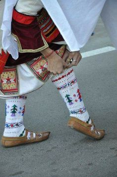 Traditional Greek woollen hand-knitted socks for women Social Aspects, Alexander The Great, Macedonia, Dance Costumes, Hand Knitting, Greece, Traditional, Albania, History