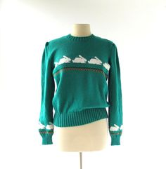 1980s bunny rabbits and carrots sweater