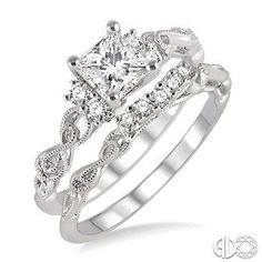 1/2 Ctw Diamond Wedding Set with 1/2 Ctw Princess Cut Engagement Ring and 1/10 Ctw Wedding Band in 14K White Gold