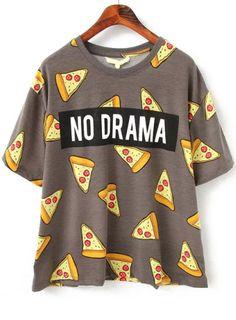 Multi Colored No Drama Pizza Printes Loose T-Shirt