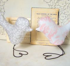 Light Pink and Grey Flower Love Birds Wedding Cake Toppers