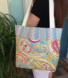Large tote bag Tote bag Beach bag Fabric tote by SweetMagnoleah, $25.00