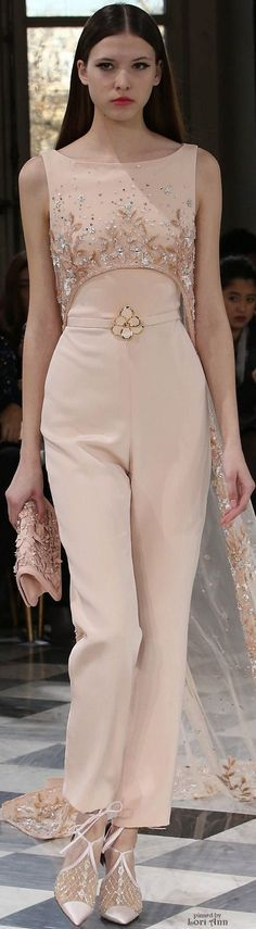 Georges Hobeika Couture Spring 2016- I like the idea of a sleek pantsuit in this color and fit.