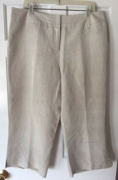 562f22ecf770d NEW David N Beige Women s Linen Blend Fully Lined Capri Cropped Pants Size  16  fashion  clothing  shoes  accessories  womensclothing  pants (ebay link)