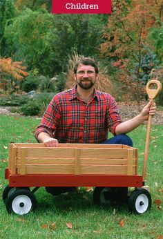 Get Norm Abram's plans for building this classic child's wagon from the New Yankee Workshop. Woodworking Workshop, Woodworking Projects Diy, Garden Wagon, Kids Wagon, Woodworking Accessories, Radio Flyer Wagons, Wood Toys Plans, Wooden Containers, Scrap Wood Projects