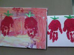 Strawberry handprint cards