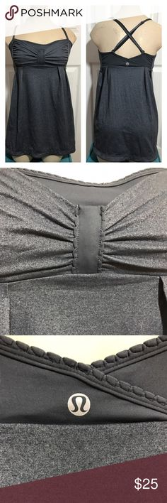 Lululemon Flowy top with Adjustable straps Size 8 Lululemon dark Grey tank with removable straps, size 8. Tag has been removed but has Size dot inside the cup space. Top does not come with bra cups, no holes, stains or tears. lululemon athletica Tops Tank Tops