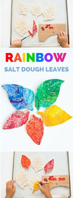 Watercolor Rainbow Salt Dough Leaves. A beautiful nature inspired activity and craft for kids.