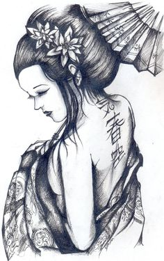 geisha sketch - Cerca con Google                                                                                                                                                                                 Más