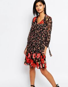 Image 1 ofFrench Connection Anastasia Mix Floral Smock Dress