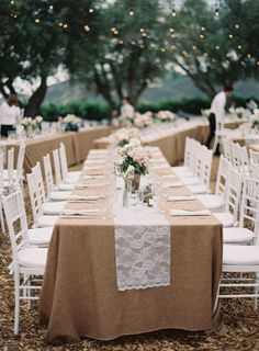 Lace Table Runner - Casual Elegance wedding | Photography: Kurt Boomer - kurtboomerphoto.com