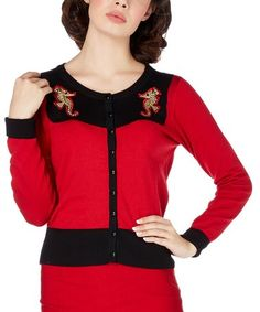 Loving this Red & Black Seahorse Contrast-Trim Cardigan on #zulily! #zulilyfinds